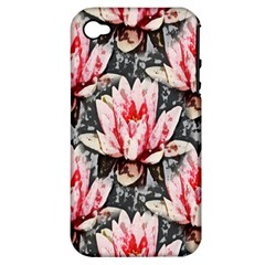 Water Lily Background Pattern Apple Iphone 4/4s Hardshell Case (pc+silicone)