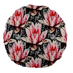 Water Lily Background Pattern Large 18  Premium Round Cushions