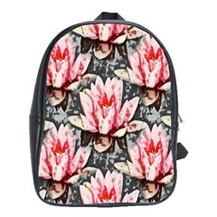 Water Lily Background Pattern School Bag (xl)