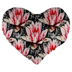Water Lily Background Pattern Large 19  Premium Heart Shape Cushions