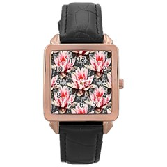 Water Lily Background Pattern Rose Gold Leather Watch