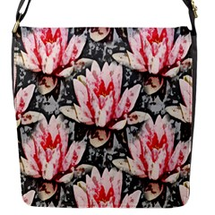 Water Lily Background Pattern Flap Messenger Bag (s)