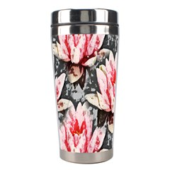 Water Lily Background Pattern Stainless Steel Travel Tumblers