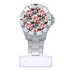 Water Lily Background Pattern Plastic Nurses Watch
