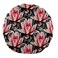 Water Lily Background Pattern Large 18  Premium Flano Round Cushions