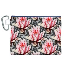 Water Lily Background Pattern Canvas Cosmetic Bag (xl)