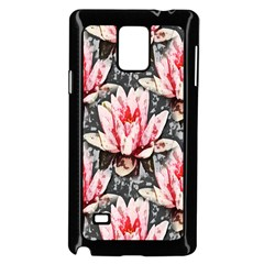 Water Lily Background Pattern Samsung Galaxy Note 4 Case (black)