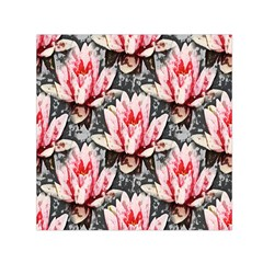 Water Lily Background Pattern Small Satin Scarf (square)