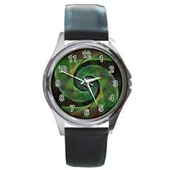 Green Spiral Fractal Wired Round Metal Watch