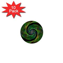 Green Spiral Fractal Wired 1  Mini Buttons (10 Pack)