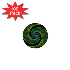 Green Spiral Fractal Wired 1  Mini Buttons (100 Pack)