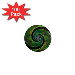 Green Spiral Fractal Wired 1  Mini Magnets (100 Pack)