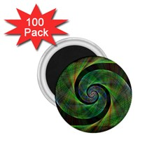 Green Spiral Fractal Wired 1 75  Magnets (100 Pack)