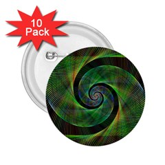 Green Spiral Fractal Wired 2 25  Buttons (10 Pack)