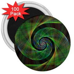 Green Spiral Fractal Wired 3  Magnets (100 Pack)