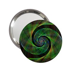 Green Spiral Fractal Wired 2 25  Handbag Mirrors