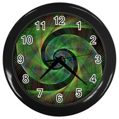 Green Spiral Fractal Wired Wall Clocks (black)