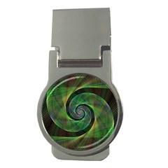 Green Spiral Fractal Wired Money Clips (round)