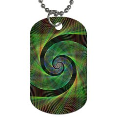 Green Spiral Fractal Wired Dog Tag (two Sides)