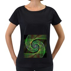 Green Spiral Fractal Wired Women s Loose Fit T Shirt (black)