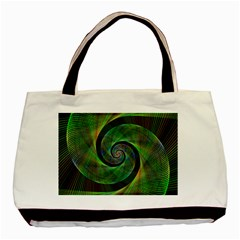 Green Spiral Fractal Wired Basic Tote Bag