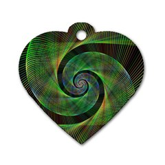 Green Spiral Fractal Wired Dog Tag Heart (two Sides)