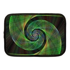 Green Spiral Fractal Wired Netbook Case (medium)