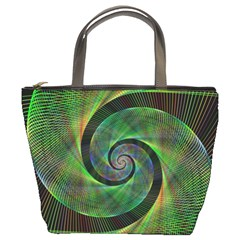 Green Spiral Fractal Wired Bucket Bags