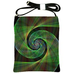 Green Spiral Fractal Wired Shoulder Sling Bags