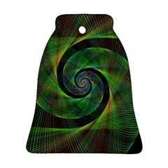 Green Spiral Fractal Wired Bell Ornament (two Sides)