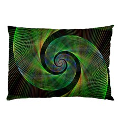 Green Spiral Fractal Wired Pillow Case (two Sides)