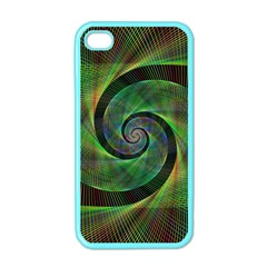 Green Spiral Fractal Wired Apple Iphone 4 Case (color)