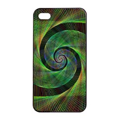Green Spiral Fractal Wired Apple Iphone 4/4s Seamless Case (black)