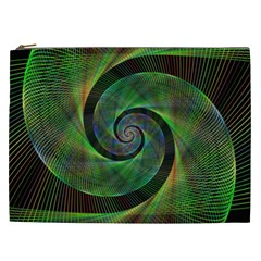 Green Spiral Fractal Wired Cosmetic Bag (xxl)