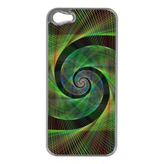 Green Spiral Fractal Wired Apple Iphone 5 Case (silver)