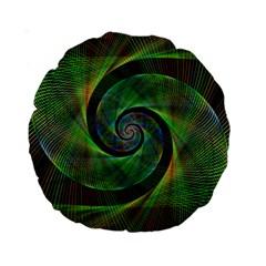 Green Spiral Fractal Wired Standard 15  Premium Round Cushions