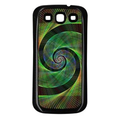 Green Spiral Fractal Wired Samsung Galaxy S3 Back Case (black)