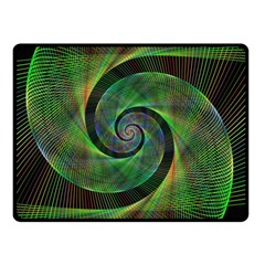 Green Spiral Fractal Wired Double Sided Fleece Blanket (small)