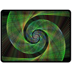 Green Spiral Fractal Wired Double Sided Fleece Blanket (large)
