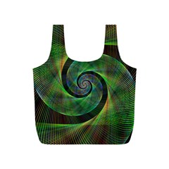 Green Spiral Fractal Wired Full Print Recycle Bags (s)