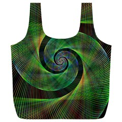 Green Spiral Fractal Wired Full Print Recycle Bags (l)