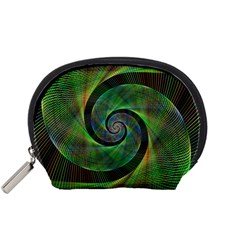 Green Spiral Fractal Wired Accessory Pouches (small)
