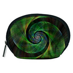 Green Spiral Fractal Wired Accessory Pouches (medium)