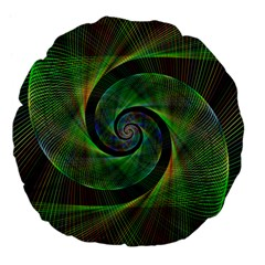 Green Spiral Fractal Wired Large 18  Premium Flano Round Cushions