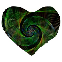 Green Spiral Fractal Wired Large 19  Premium Flano Heart Shape Cushions