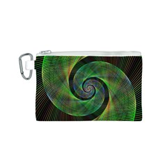 Green Spiral Fractal Wired Canvas Cosmetic Bag (s)