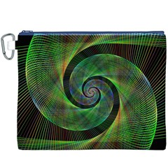 Green Spiral Fractal Wired Canvas Cosmetic Bag (xxxl)