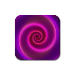 Pink Background Neon Neon Light Rubber Square Coaster (4 Pack)