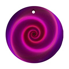 Pink Background Neon Neon Light Round Ornament (two Sides)