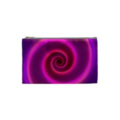 Pink Background Neon Neon Light Cosmetic Bag (small)